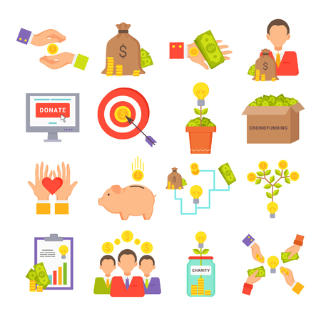 Crowdfunding charity collection, set of varied storages hands icons, people save money, coins and banknotes, assistance vector illustration Stock fotó - 104961902