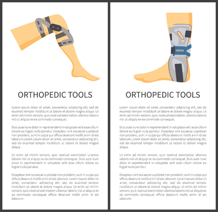 Orthopedic tools items set for knee and foot support, banners with text sample titles, construction to adjust human body parts vector illustration Stockfoto