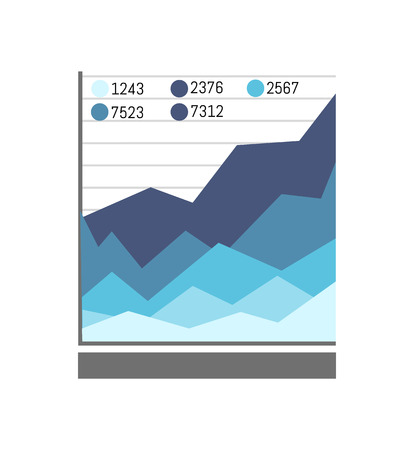 Graphic and information presented in blue color, charts with numbers explanation, business ideas vector illustration isolated on white background Stock Photo