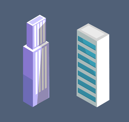 Modern isometric building skyscraper design vector illustration of multi storey home on blue. Dwelling house or office center in city