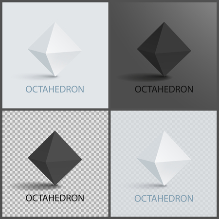 Octahedron three-dimensional shape plane faces, regular solid figure with eight equal triangular faces geometric 3D shapes in black and white vector Stock Photo