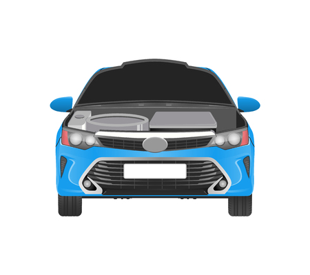 Modern car in blue corpus with open hood and parts which need replacement. Repair service for vehicle that has spoiled details vector illustration.