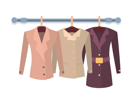 Set of women jackets outer garment extending to hips or waist, hanging on hanger, new spring collection of stylish coats fasten in front vector Stock Photo