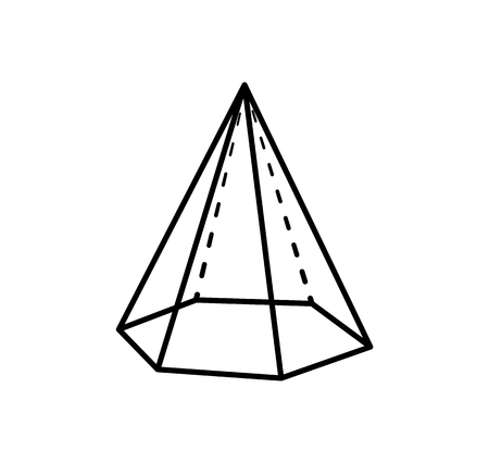 Hexagonal pyramid geometric shape projection of dashed and straight lines. Form with side in form of triangle and based on hexagon vector illustration