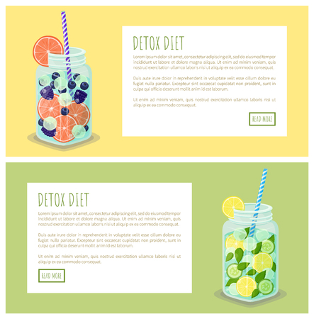 Detox diet beverages web set, text sample and headlines, jars containing liquids with grapefruit, lemon slices, fresh cucumber vector Illustration
