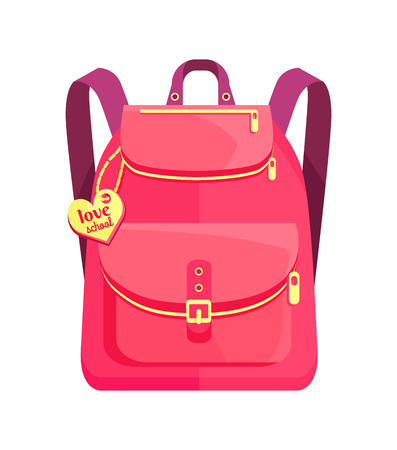 Rucksack for girl in pink colors with inscription on metal heart love school, big pocket and zipper vector illustration isolated on white.