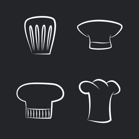 Headwear items of staff, bakery or cafe cooker caps, white sketches of emblems chef hat icons isolated on black background vector set on black