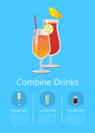 Combine drinks poster with lemonade in glass with straw and slice of lemon vector illustration with closeup of cocktail isolated on blue background