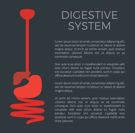 Digestive system black poster with headline and information text sample, human organs of digestion gastrointestinal tract info vector illustration