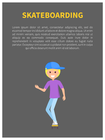 Skateboarding colorful banner vector illustration, cheerful teen in blue cap and lilac t-shirt on skateboard, funny sportive activity text sample