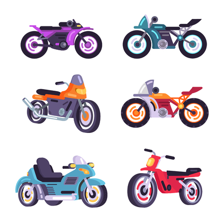 Set Scooter Models Flat Style Design Stylish Moped