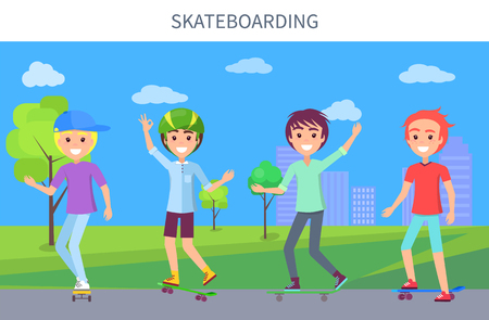 Skateboarding poster and boys good mood, activity in city park, trees grass on backdrop, skateboarders happy day, hobby vector illustration