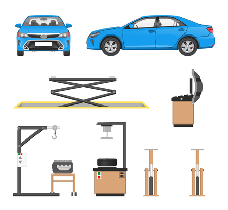 Set of tools for car repairing and blue sedan, vector illustration isolated on white crane machine in auto servicing, disks or wheel fitting rigs