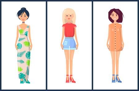 Stylish Girls Set Summer Mode Collection Clothes Illustration