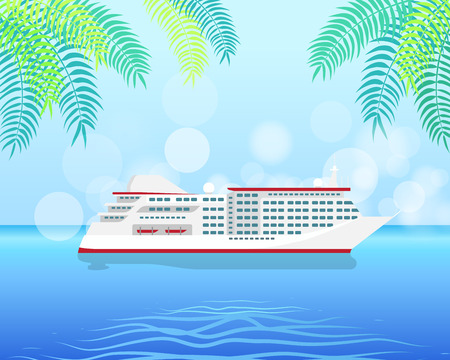 Cruise White Luxury Ship Isolated on Water Illustration