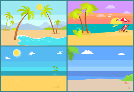 Tropical islands vector of palm trees set, endless sea, summertime pictures with exotic coastlines, hot sun, expensive resorts and chaise-longue