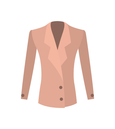 Women jacket double-breasted beige coat with buttons vector illustration isolated on white. New summer or spring mode, outer garment extending to waist Ilustração