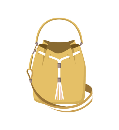 Cute mode handbag isolated on white background, vector illustration with beige bag with mode decorative rope, two varied pretty handles, bright banner Illusztráció