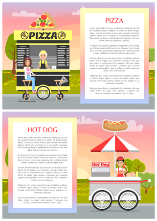 Pizza and Hot Dog Stands with Wheels, Tasty Food