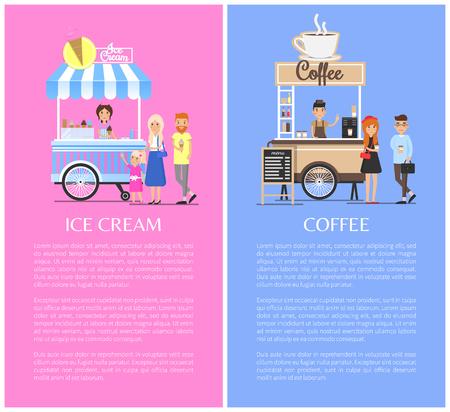 Gelati e chioschi caffè illustrazioni vettoriali