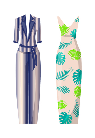 Striped costume and dress with floral print set. Stylish light summer suit and long elegant frock. Fashionable female clothes vector illustrations.