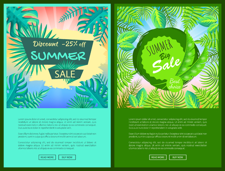 Discount summer sale web posters with percent off promotional emblems. Summertime tropical plants leaves seasonal price vector online pages collection