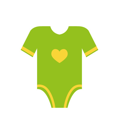 Short sleeves legless green romper with yellow heart vector illustration of first cloth for newborn toddler infant isolated on white background