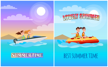 Summertime posters collection with headlines, boating and banana boat set of banners, sports types isolated on vector illustration