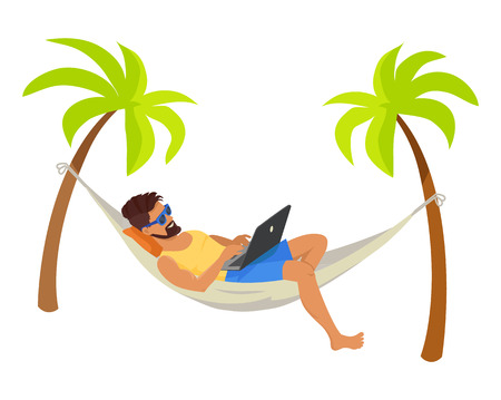 Young man with his laptop, freelance concept poster vector illustration freelancer wear blue sunglasses lying in hammock, distant work internet Ilustração