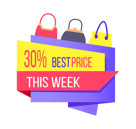 30 best price this week special offer label discount bag and sacks, vector illustration of emblem with purse vector advertisement sticker isolated 向量圖像