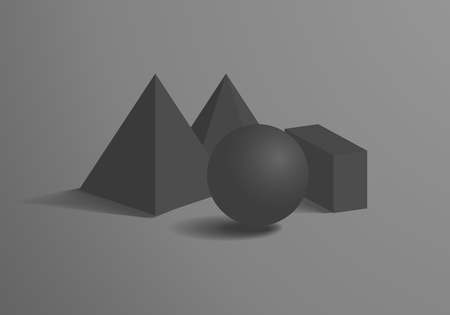 Sphere and Cuboid Prism Square Pyramid Figures Set