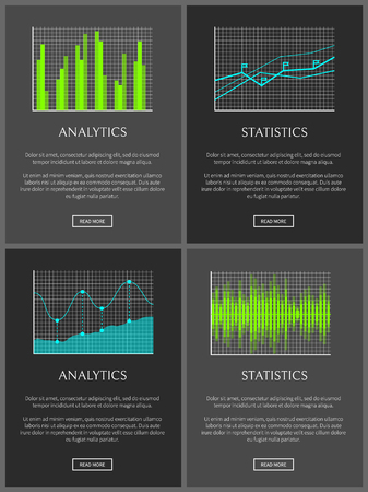 Analytics and statistics data chart representation, vector illustration growing stat infographics isolated on black, buttons flags and points 向量圖像
