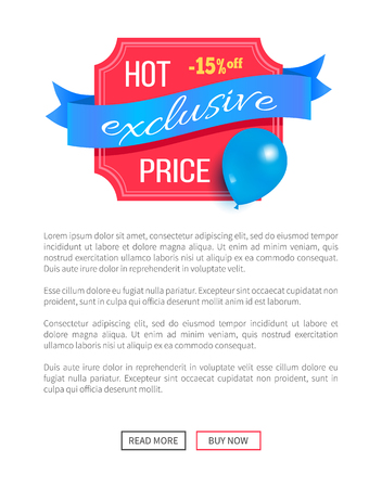 Hot price exclusive best 15 discount promo label design decorated by flying blue balloon, helium air ball sale sticker vector online poster Illustration
