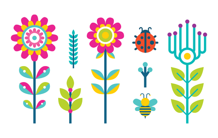 Creative spring or summer flowers blooming buds made of simple shapes, flying bee and grass elements, hearts and ladybug florets vector set isolated