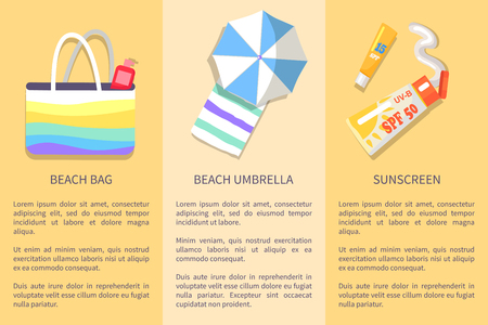 Collection of posters with inscriptions. Vector illustration of colourful beach bag, umbrella with towel and spf sunscreen lotions