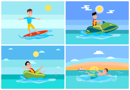 Surfing summer, sport collection, jet ski and donut ride, swimming person and ship on water and seascapes, vector illustration