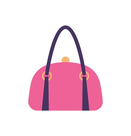 Women Pink Leather Handbag Back Handle and Clips Foto de archivo - 105421930