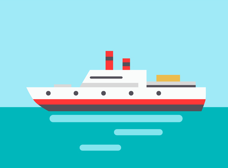 Marine liner icon colorful vector illustration, big sea vessel and calm water reflections, huge ship with two pipes isolated voyage symbol template