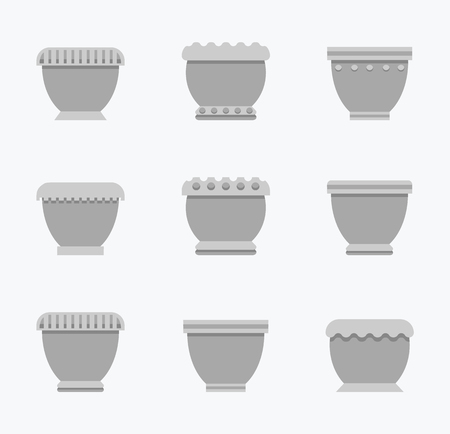 Flower pots with curved top, decorated containers for plants, collection of vases grey color, set vector illustration isolated on white background  イラスト・ベクター素材