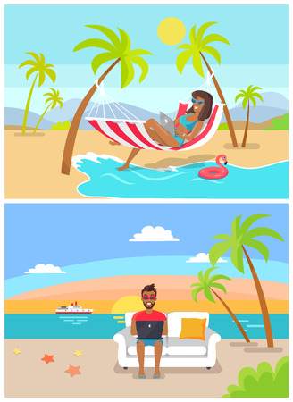 Freelance by seaside collection of people working using laptop, freelancer workers at coastline, set with water and sun, palm trees vector illustration