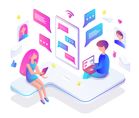 Teenagers chat Internet through modern gadgets. Girl and boy text in messenger with laptop or smartphone. Teens chating online vector illustration.