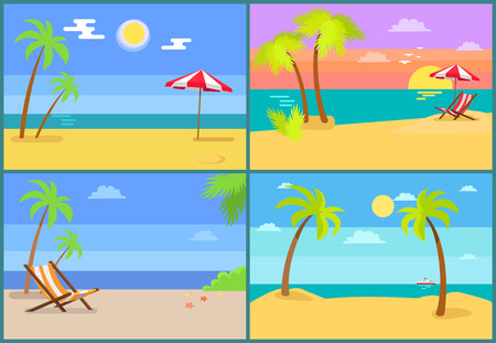 Beach and Seascapes Collection Vector Illustration Stock Photo