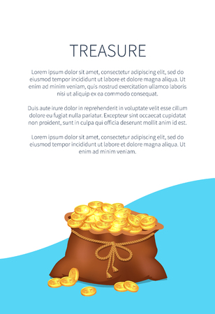 Treasure Poster with Old Sack Full of Golden Coins