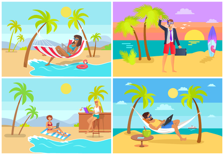 Freelancers Collection Seaside Vector Illustration Фото со стока