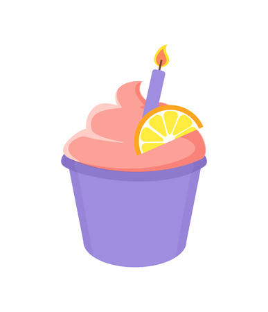 Birthday Cupcake with Lighted Candle and Orange Stock Photo
