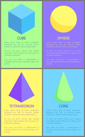 Cube Cone Sphere and Tetrahedron Prisms Collection Illustration