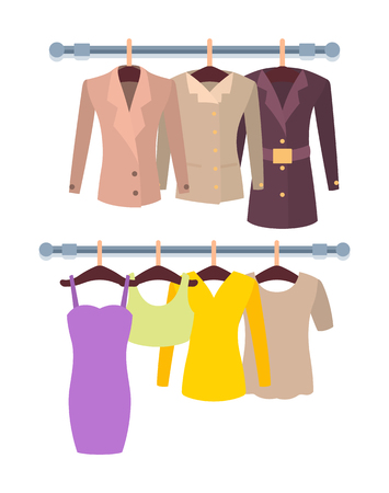 Hangers mode female stuff colorful template vector illustration of modern overcoats and shirts with sleeves, vogue elegant dress stylish cute top