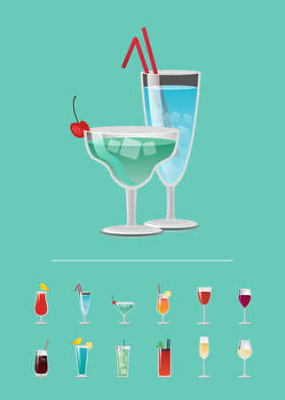 List of cocktails, choose your refreshing alcoholic drink poster design, menu cover with juices on choice, alcohol flat vector icons glass beverages