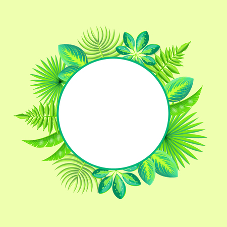 Tropical banner with spare place for text, round frame decorated by tropical palm leaves vector illustration on light background, circled border plants