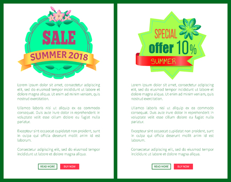 Sale summer 2018 special offer 10 promotional emblem on tropical banners. Seasonal discount sale label in tropics style vector web poster add text Illustration